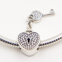 LOCK OF LOVE CHARM DIY Beads Real Solid 925 Sterling Silver Not Plated Fits Pandora Bracelet&Charms
