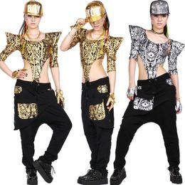 2015 New Fahion Women Hip Hop Dance Tops Jazz Ds Bright Performance Costumes Jumpsuit