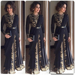 Dubai Arabic Black Prom Dresses Crew Long Sleeves Floor-Length Appliqued Formal Dress Afghan Celebrity Party Gowns Dresses Evening Wear
