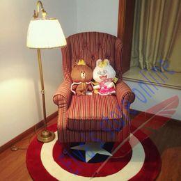 60cm Captain America Shield Carpet Cartoon Circle Handmade Living Room Parlor Hallway Bathroom Mats Rugs Cushion