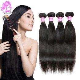 Acheter en ligne Peut teindre remy extensions de cheveux-Cheveux bruns brésiliens Péruvien Indien Malaisien cheveux vierges tissage paquets peu coûteux remy cheveux humains cheveux extensions paquets peuvent être teints