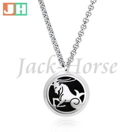 New arrival twelve star sign Essential Oil Diffuser Perfume Locket Pendant Necklace Round Aromatherapy magnet locket