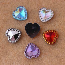 200PCS 12mm Acrylic Rhinestones Heart shape Flat Back Crystal Crafts beads ZZ284