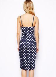 Sexy Sleeveless tight braces dress blue Office lsdy OL skintight wave dot Polka Dot Dress with back zipper B19 SV006420