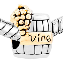 Golden Grape Wine Cask in Gold and rhodium Plating Bead European Charm Fit For Pandora Bracelet