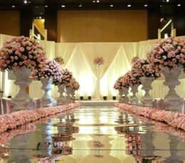 Wholesale 10m m wide Shine Mirror Carpet with Gold and Silver Double sided For Roman Wedding Favors Party Decoration wdc001 m