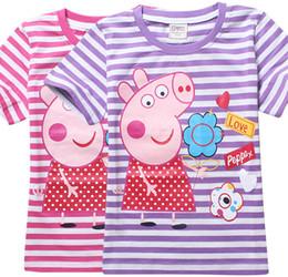 Wholesale New summer pink pig Tee T shirt girls short sleeve cartoon shirts baby girl shirt cotton tops kids clothes