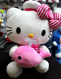 Wholesale Pink KT Plush Toys inch size M Cheap cute cartoon cat in navy skirts dolls Kawaii Birthday New Year Gift