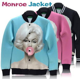 Wholesale-High quality Marilyn monroe print outdoor jacket sportswear women men windbreak coat classic marylin pattern autumn outwear