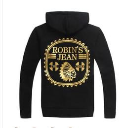 Wholesale new black men s robin jeans zip up hoodie sweatshirts jacket printed wings fashion street wear M L XL XXL XXXL