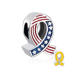 European style USA country flag ribbon breast cancer awareness medical metal bead infant lucky charms Fits Pandora charm bracelet