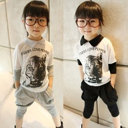 Wholesale Summer Girl Clothing Set Pure Cotton Tiger Head T Shirt Harem Pants Children Suit Colour Fit Age Kids Casual Sets WD479