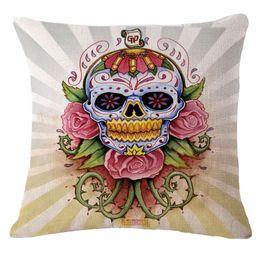 Wholesale Cotton pillowcase Cushion cover IKEA office chair car decoration Mexico De Almofadas skull