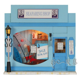 Wholesale Nautical supplies small room with LED lights wooden house model DIY house production Dollhouse Miniature diy handmade hut kit