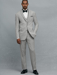 New Style Two Button Light Gray Groom Tuxedos Notch Lapel Groomsmen Mens Wedding Prom Suits (Jacket+Pants+Vest+Tie) H266