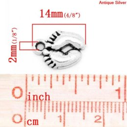 Wholesale Retail Charm Pendants Baby Feet Antique Silver x10mm pendant pendant screw pendant screw
