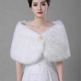 White Pearl Wrap Shawl Coat Jackets For Bridal Winter Wedding Cloak Faux Fur Shawls 2016 New Arrival