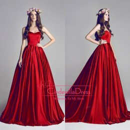 Wholesale Hamda Al Fahim Red Ball Gown Sweetheart Evening Dresses Celebrity Dress Ruffles Plus Size Backless Prom Red Carpet Party Gowns