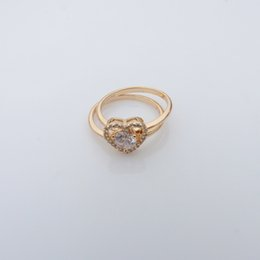 lovely style 18k yellow gold filled heart design rings set Czech crystal couple rings