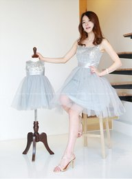 Wholesale Square Neck Line Prom Dress - 2015 Mother Daughter Matching Dresses Square Neck Sequins Knee Length Short Party Dresses Mother Daughter Wedding Wear Dresses Prom Gown Dhz