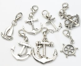 Wholesale MIC Antique Silver Mix Cute Sailing Boat Rudder Charms Lobster Claw Clasp Heart Floating Charm Components