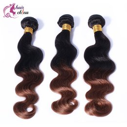 Wholesale Amazing Malaysian Peruvian Brazilian Human Ombre Virgin Hair bundles body wave hair weaving extensions DHL