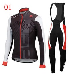 Wholesale 2014 New Arrival Cycling Jersey Sets Black Blue Red Long Sleeve Winter Autumn Bib Set Cyclling Jerseys High Elastic Warmer Men Bicycle Cloth