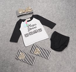 SamgamiBaby kids summer style long sleeve Cotton Casual sequin letters print t-shirt + shorts + heandband +socks 4pcs set outfits for kids