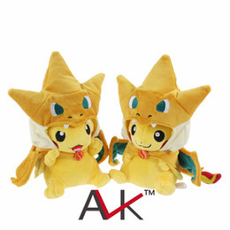 Wholesale 2015 New cute Pet Elf Rizaadon Charizard Pikachu Cartoon Plush Toy Dolls Inch Stuffed Collectible plush toys kids gifts C001