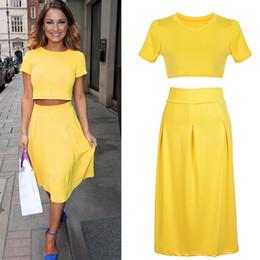 Summer Fashion Women Yellow Stretch Tight Tee Crop Tops +High Waist Frill Flare Midi Saias Casual Bodycon Slim Dress 2piece Set