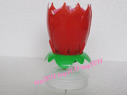 Amazing Romantic Musical Lotus Rotating Happy Birthday Candle red pink yellow purple blue can choose