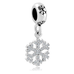 Christmas multiple Crystal snowflake Dangle Spacer Copper Material slide bead European charm fit Pandora Chamilia Biagi charm bracelet