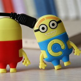 Despicable Me clip mp3 player support TF Micro SD card music player Cartoon mp3 player MP3 + earphone + usb + box 20pcs