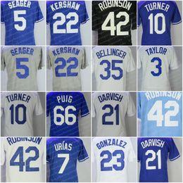 Men's 22 Clayton Kershaw 10 Justin Turner 35 Cody Bellinger Yasiel Puig Jackie Robinson Corey Seager Enrique Hernandez Baseball Jersey