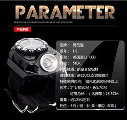 Wholesale Outdoor Flashlight Wrist Watch shape wristband lamp lights automatically pistol tactics Watch lamp