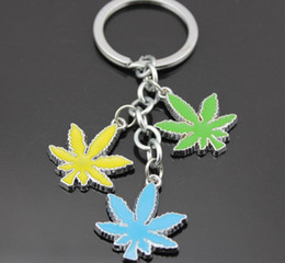 Wholesale NEW leaves Key Chain Bling Key key chain key ring Rasta Jamaican Metal Keyring Keychains CC134