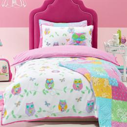 Wholesale Owl Song Cotton Cartoon Children Bedding Set Bedclothes Kids Duvet Quilt Cover Pillow Case Cover Printed Set jogo de cama