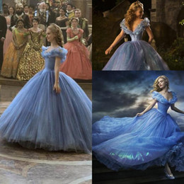 Wholesale 2015 Newest Movie Cinderella Prom Dresses Luxury Crystals Lily James Glittery Blue Princess Evening Ball Gowns Tiered Blue Quinceanera Dress