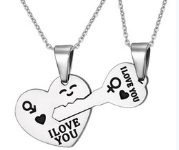 316L Stainless Steel Silver Heart and Key Puzzle Pendants Necklace for Couple I Love You Pendant