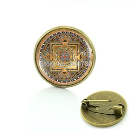 Wholesale Buddhist jewelry Mandala brooch pins Sacred geometry jewelry glass cabochon dome mandala Collar Brooch Spiritua bros BP27
