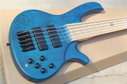 Wholesale New Oliveira five string electric bass Burl Ash wood grain veneer maple fretboard blue piano