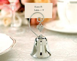Wholesale 2016 Wedding gift Charming Chrome Bell Place Card Photo Holder with Dangling Heart Charm wedding pictures for bride photo frames