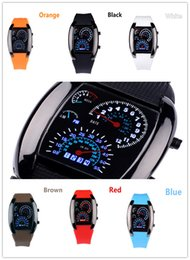 Wholesale Hot Selling Fashion Flash LED Digital Silicone Watch Innovative Car Meter Air Race Sports Dial Led Electronic Binary Watches Mutilcolor