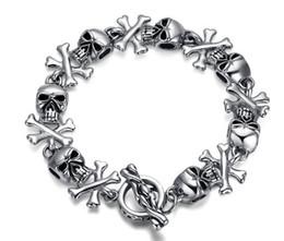 Men Bracelet Titanium steel skull Bracelet forward fashion and personality Titanium steel bracelet ghost High-end jewelry BR-006