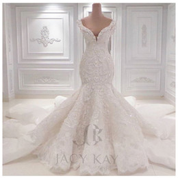 Wholesale Vestido De Noiva Lace Wedding Dresses Spring Designer New Crystal Pearls Embroidery For Church Wedding Party Dresses Bridal Gowns