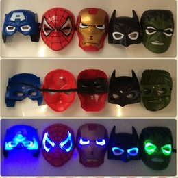 Wholesale HOT NEW Batman Spiderman Iron Man Hulk Captain Americas Marvel Avengers Masks All have LED lights EMS Free Shiipping