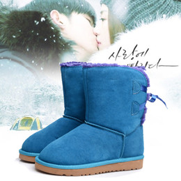 Wholesale Classic Tall Warm Winter Women Boots Fashion Black Leather Bailey Bow Bowknot Australian Short Snow Boots Outdoor Warm Boots