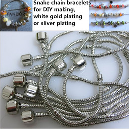 30pcs Mixed Size 925 Silver Bracelet European Style Bead Fit 3mm Snake Chains Bracelet 7.0-8.5inch