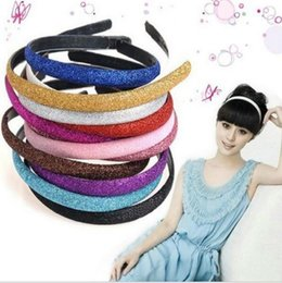 New Fashion Women Lady Girls Glitter Headband Sparkling Leather Plastic HairBand Hair Accessories 100pcs