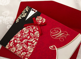 Free Shipping Chic Red Wedding Invitations Cards Customized Printing Personalized Invitations Wedding Supplies